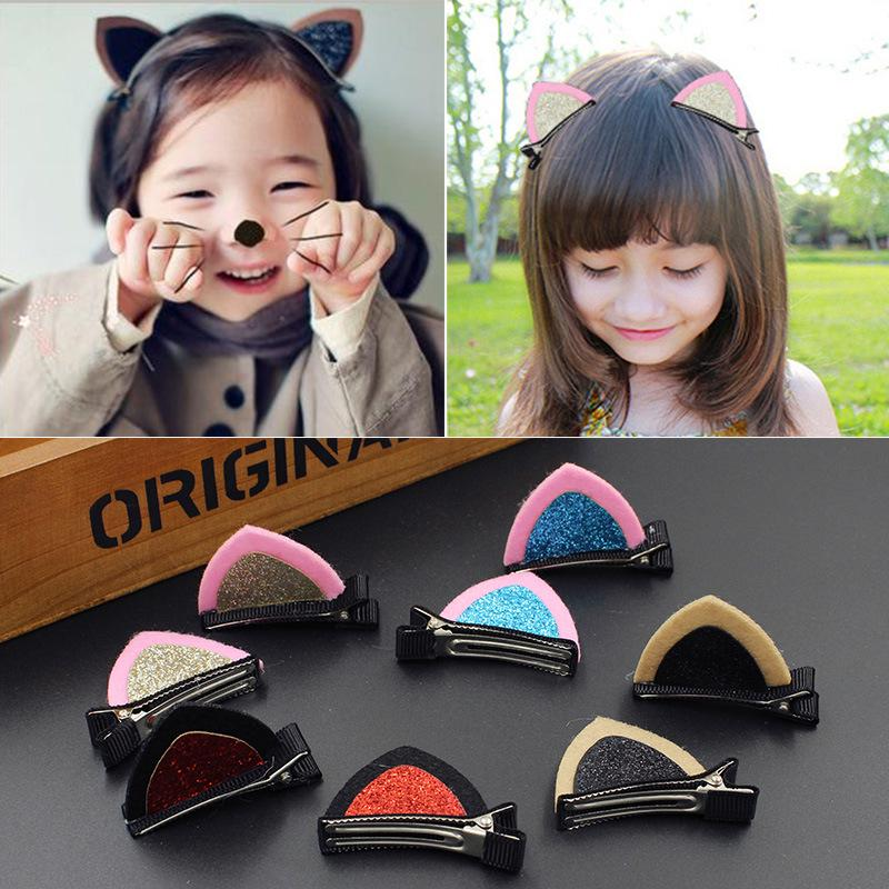 Lovely Cat Ear Hairpin Toddler Girls Hair Clips Barrettes for Kids/_ ZJA