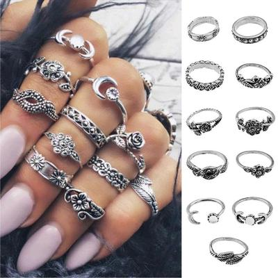 11PC/Set Women Punk Vintage Moon Knuckle Rings Tribal Ethnic Hippie Stone Joint Ring Jewelry