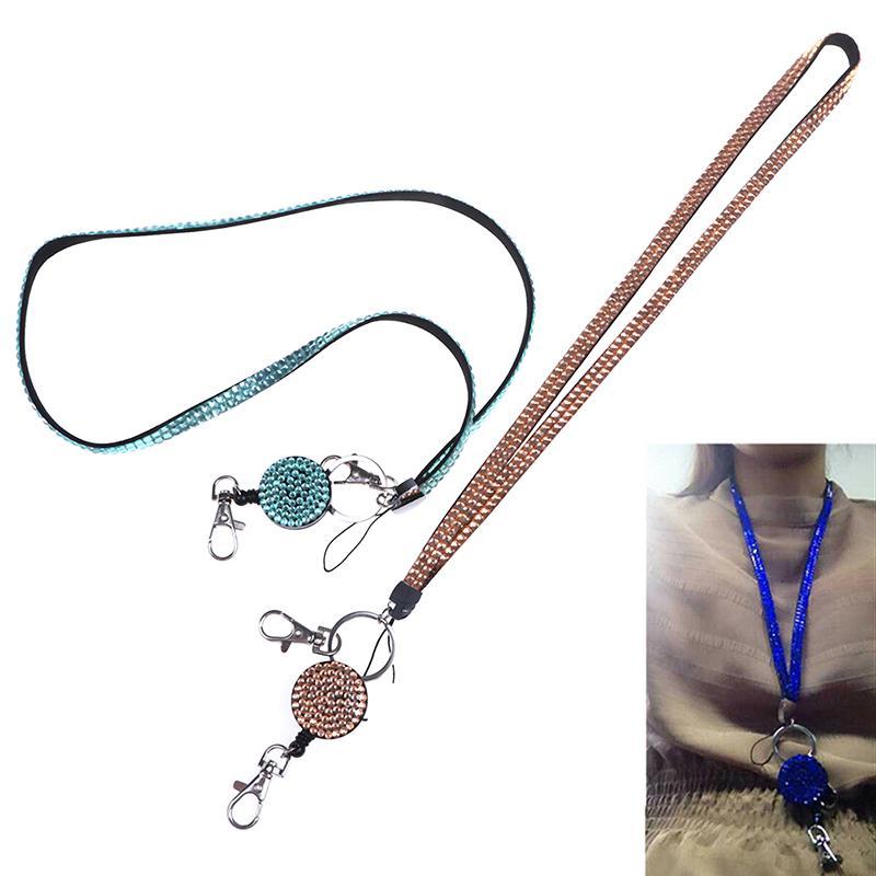 Neck Lanyard Retractable Badge Reel Crystal Rhinestone Phone Key Hang Rop/_ VX