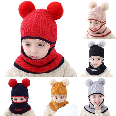 3 Pieces Baby Winter Warm Set Beanie Cap with Double Pom Kids Knitted Scarf Gloves