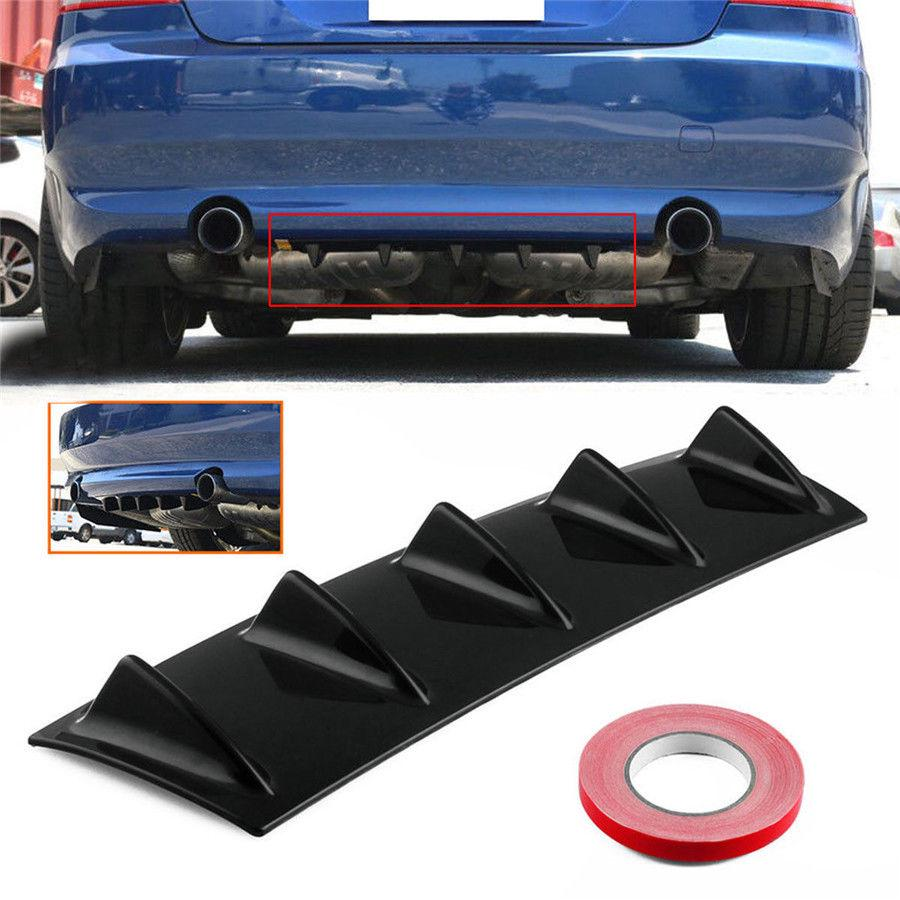 "23/""x6/"" Car Lower Rear Body Bumper Lip Diffuser 5 Shark Fins Spoiler Kit ABS New"