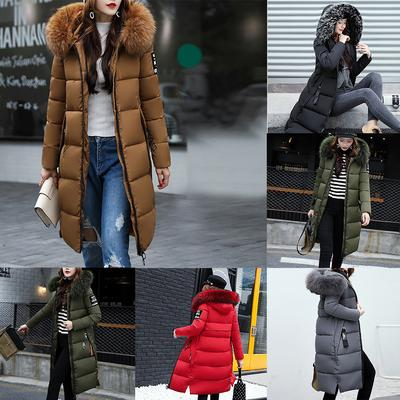 Ladies Pomp Fur Collar Parka Winter Coat Padded Lined Jacket Hoodie Trenchcoat