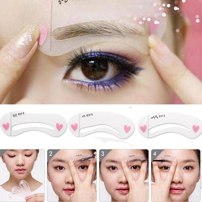 1 Set Of 3pcs Exquisite Eyebrow Stencil Grooming Shaping Card Kit