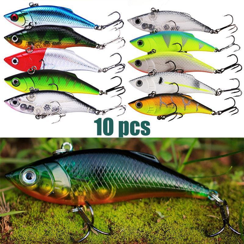 5PCS Fishing Crankbait Minnow Fish Bass lure hook baits 5.3m//8g