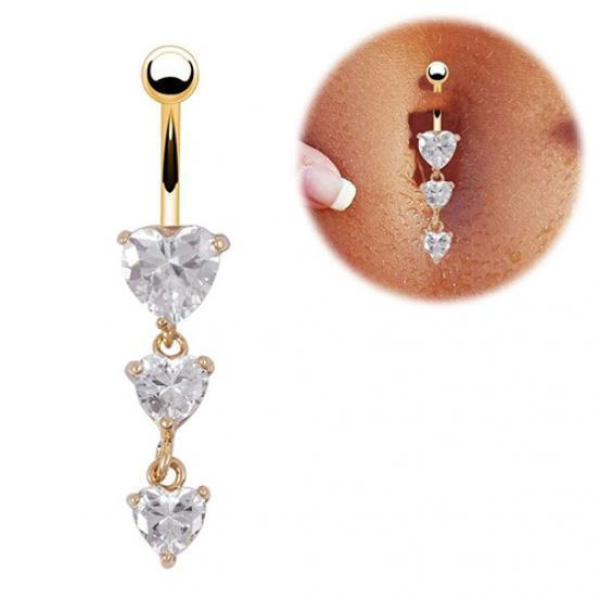 Heart Crystal Navel Bar Belly Button Rings Body Navel Piercing Rings for Summer Jewelry