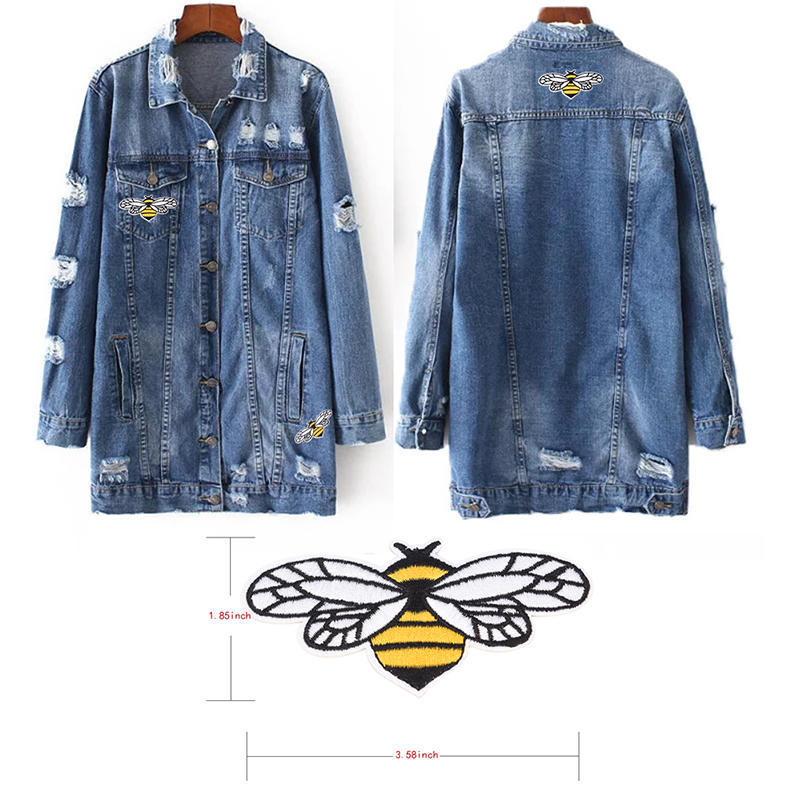 Bee sequins Embroidered Sew Iron On Patch Badge Fabric Bag Hat Applique Clothes