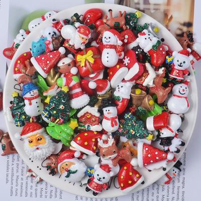10pcs/pack Christmas DIY Resin Accessories DIY Phone Accessories New Year Cake Decoration