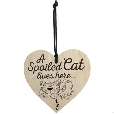 b34256204f Océano rojo A Spolied gato vive aquí amor de madera colgante corazón gatos  muestra placa Shabby
