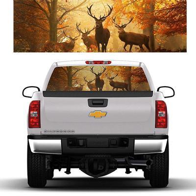 Deer B//W Autumn Forest Animals Rear Window Decal Sticker Pick-up Truck SUV Car