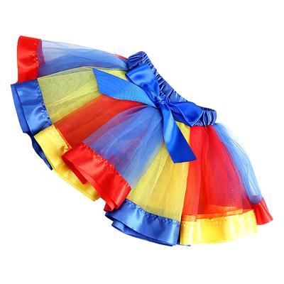 Girl Ballet Dance Ruffles Pleated Tutu Skirt Fancy Rainbow Color Satin Petticoat
