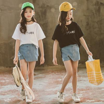 2PC Summer Kids Girl Cute Cotton Blend Embroidery T-shirt+Denim Shorts Jeans Set
