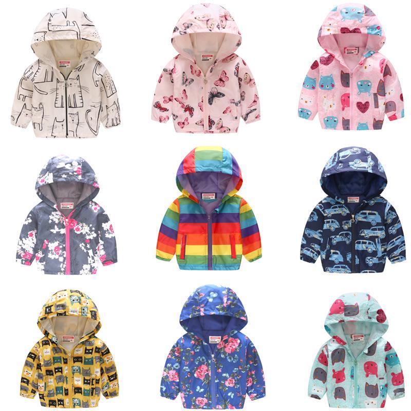 Baby Kids Girl Jacket Coat Flower Print Hooded Long Sleeve Windproof Waterproof