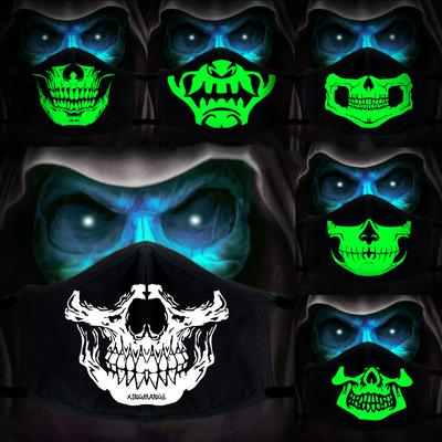Fashion Gothic Skull Face Mask Night Luminous Cotton Mouth Mask Men Women Dustproof Outdoor Mask