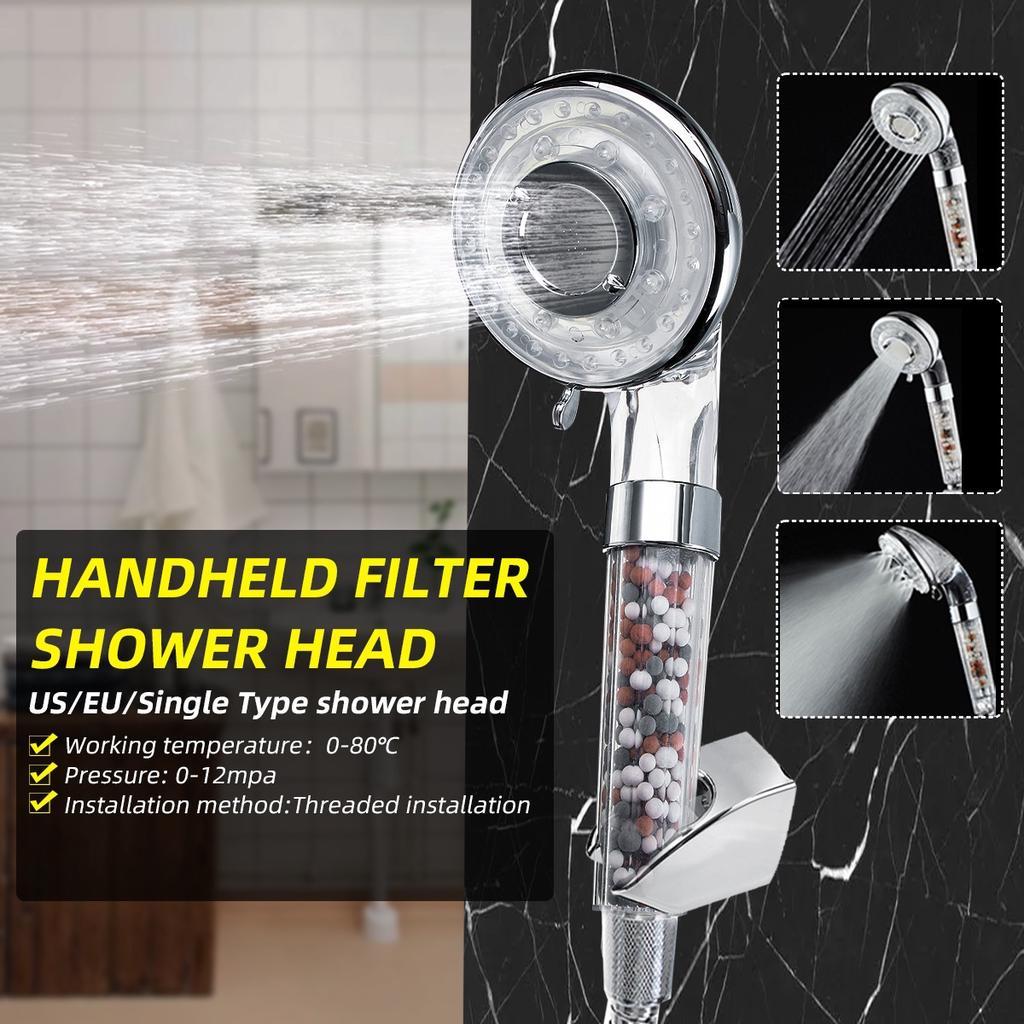 Modern High Turbo Pressure Ionic Filters 40/% Water Saving Chrome Shower Head 1pc