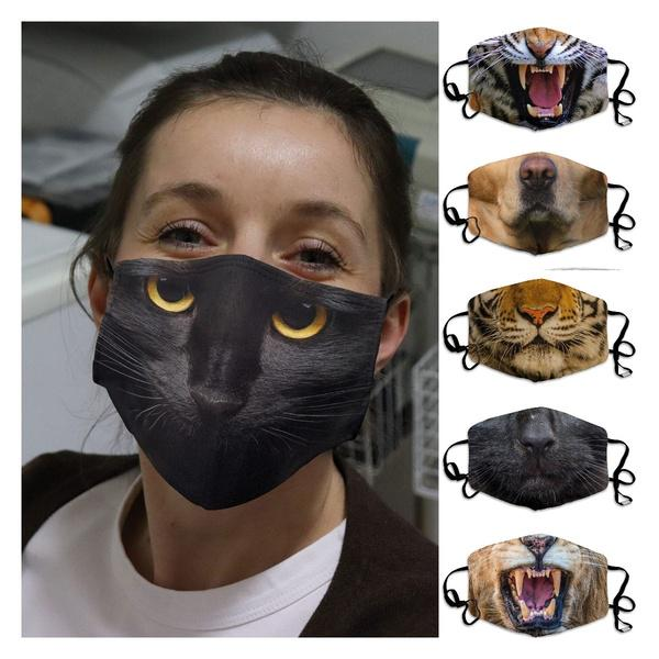 Kids Outdoor Leopard Colorful Printed Face Cover Up Soft Lightweight Health Protection Mouth Cover with Elastic Earloops