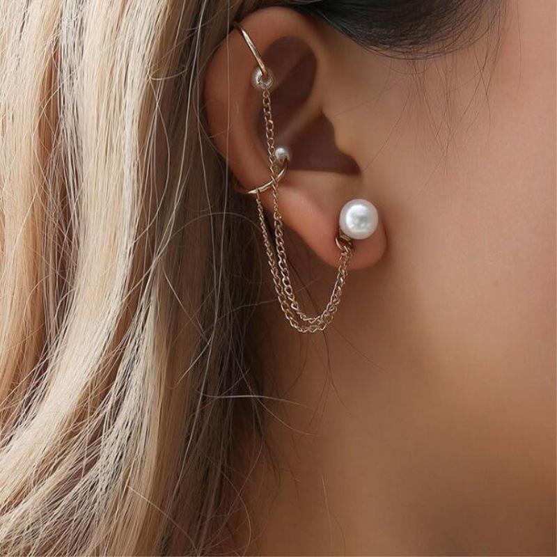 Nouveau Long Tassel Gothique Punk Ear Wrap Boucles d/'oreilles pour les femmes non percé Oreille Bijoux