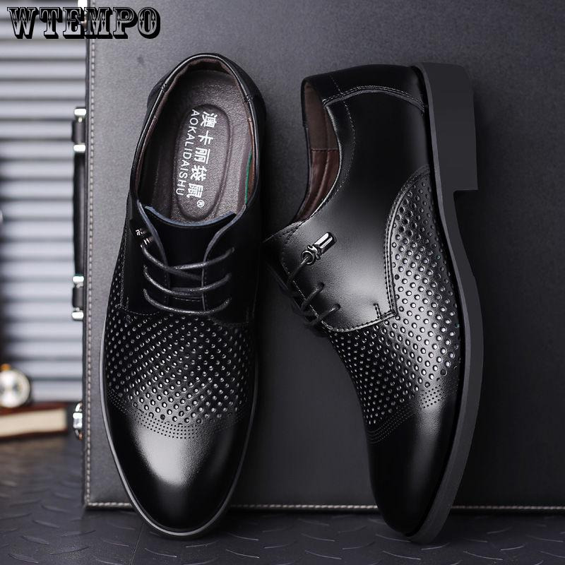 WTEMPO Casual Shoes Men Genuine Leather Lace Up Oxford Wingtip Formal Shoes