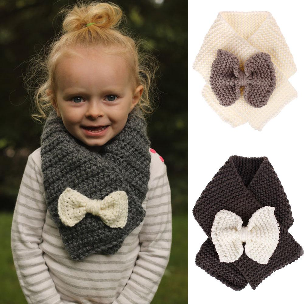Baby Child Warm Outdoor Solid Scarf Knitted Wool Wraps Neck Warmer Muffler Shawl