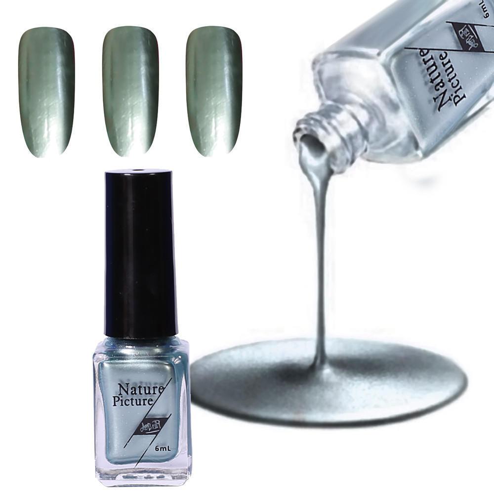 Esmalte de uñas espejo pasta de plata metálica Color acero de la ...