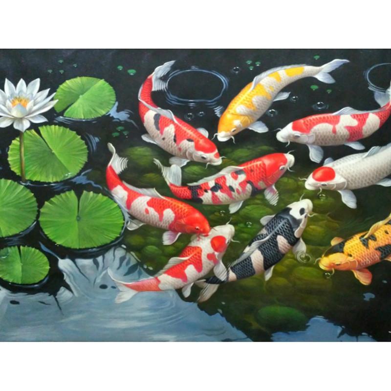 Diamond Painting DIY 5D Cross Stitch Carp Koi Fish Embroidery Decor Gifts Craft