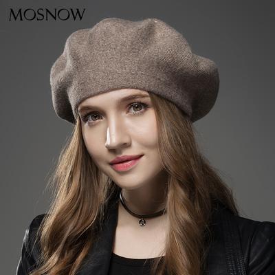 De moda invierno sombrero boinas lana cachemir mujeres caliente marca  Casual de las mujeres gorros tejidos 5bbe2a5e9cc
