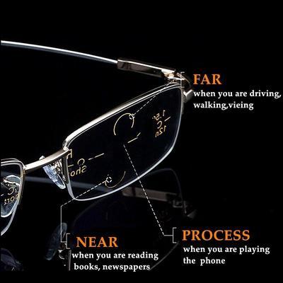 Metal Titanium Multifocal Reading Glasses Progressive Anti Blue Ray UV Protect Presbyopic Glasses Half Frame Men Women