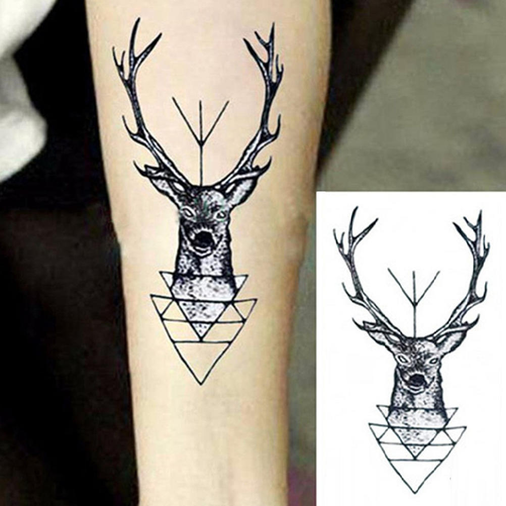Tatuaje Temporal Impermeable Elegante Pegatina Elk Ciervo Cabeza