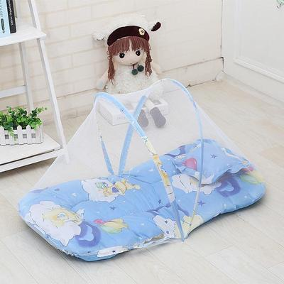Baby Bedding 3 Colors Portable Baby Bed Crib Folding Mosquito Net Cushion Mattress Summer Baby Infants Mosquito Polyester Mesh Crib Netting