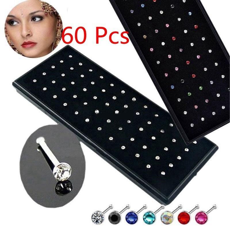 60× Women/'s Lady Crystal Nose Rings Bone Stud Stainless Steel Body Piercing Gift