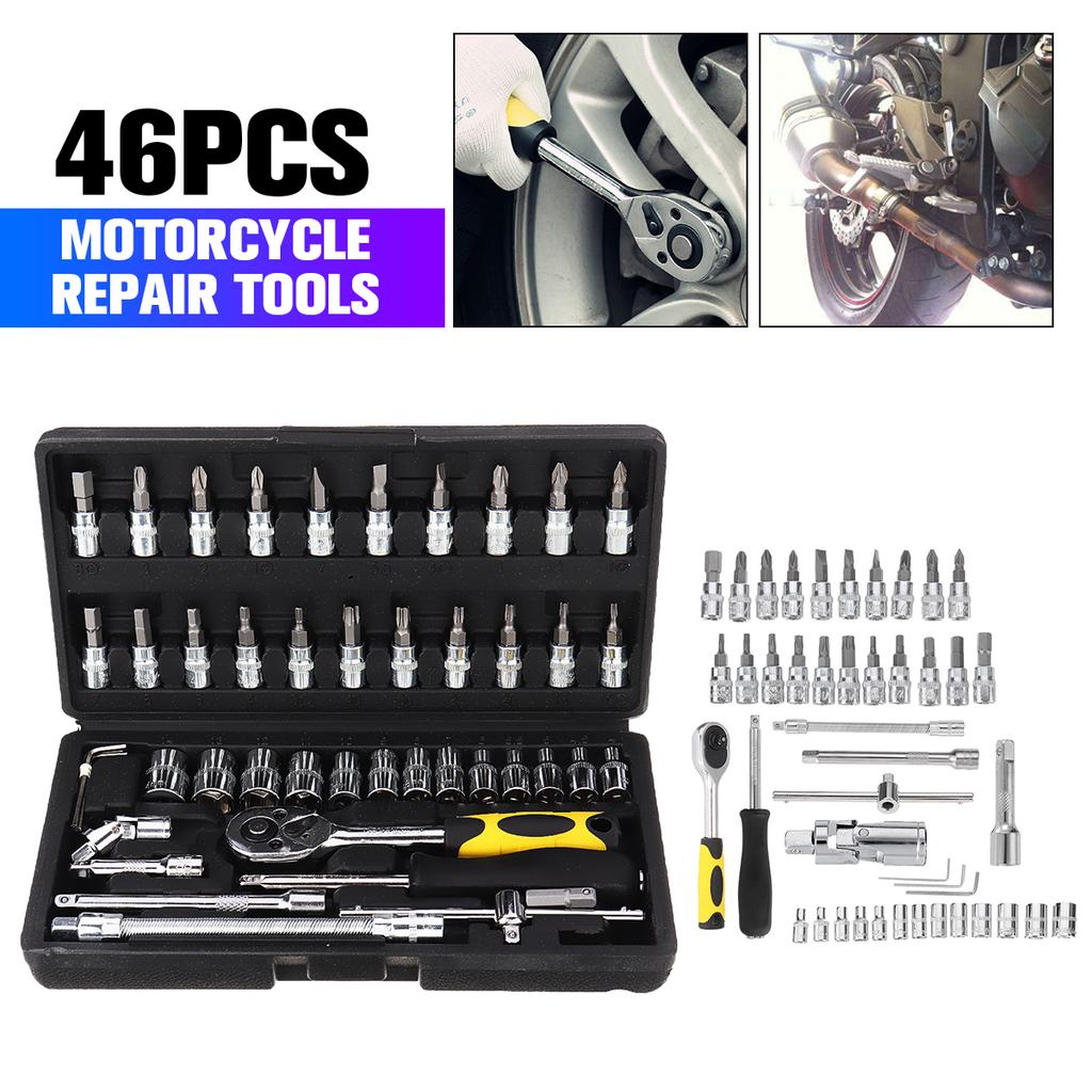 46Pcs Tool Set Car Repair Kit Case Home hand Tools Piece Box Socket Set Ratchet