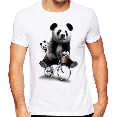 Pandaie Mens Blouse Shirts Mens New Summer Cartoon Bicycle Patterns Printed T-Shirt Top Blouse Top