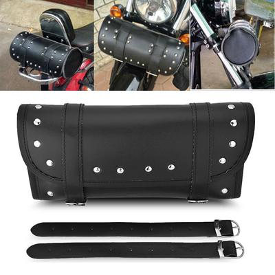 Homyl Motorcycle Fork Bag,Waterproof Motorbike Handlebar Bag PU Leather Saddlebag Front Rear Storage Tool Pouch 2 Straps for Harley and Other Motorcycle