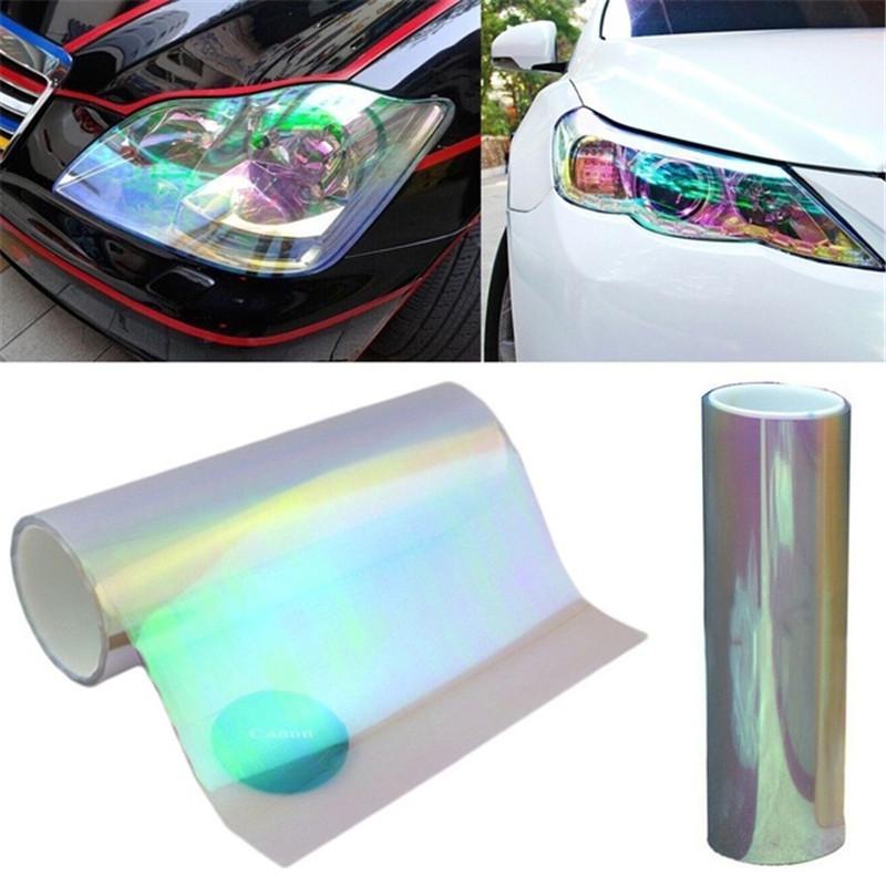Decorative Chameleon Car Sticker Wrap Headlight Taillight Color Changing Film