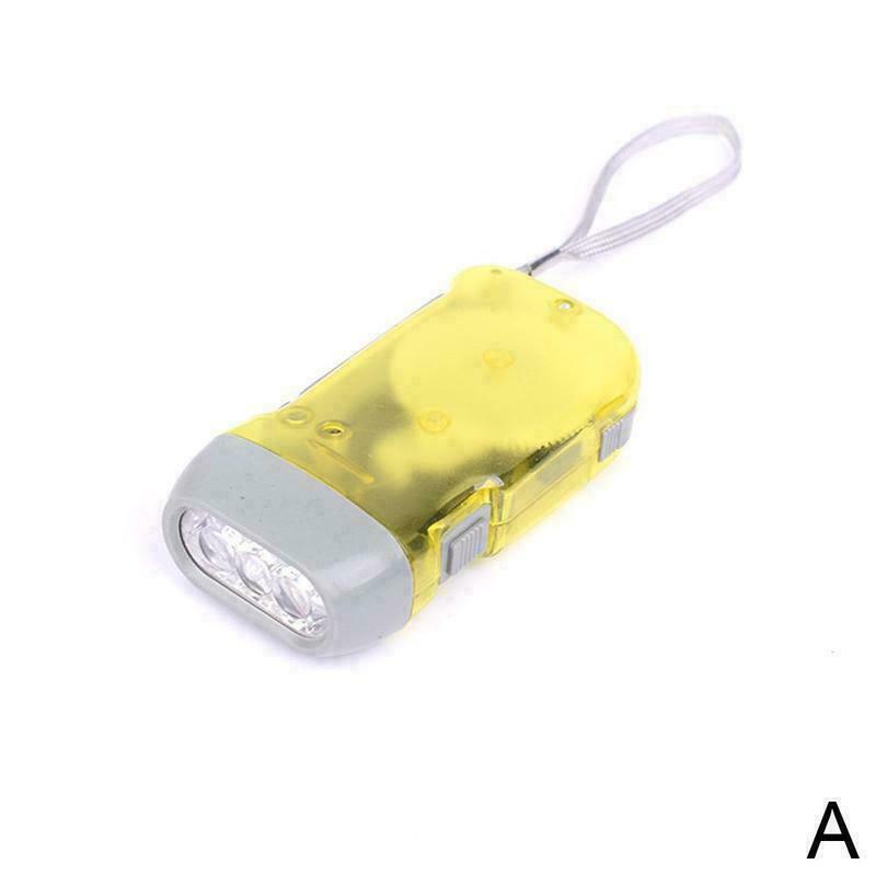 Hand Pressing 3 LED Crank Power Dynamo Wind Up Flashlight Lamp Light Torch I1G5