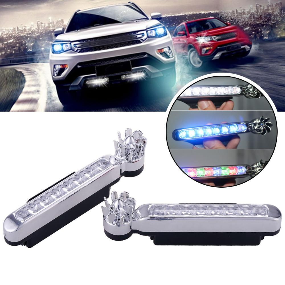 2pcs 8 LED Waterproof Car Daytime Running Light DRL Wind Turbine Powered Fog Day Driving Lamp