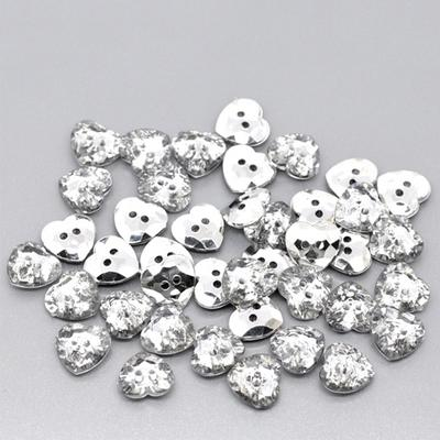 20 Pcs Acrylic Button Scrapbooking Heart Shpe 2 Hole Shine Bright Handmade  DIY Crafts Sewing Buttons