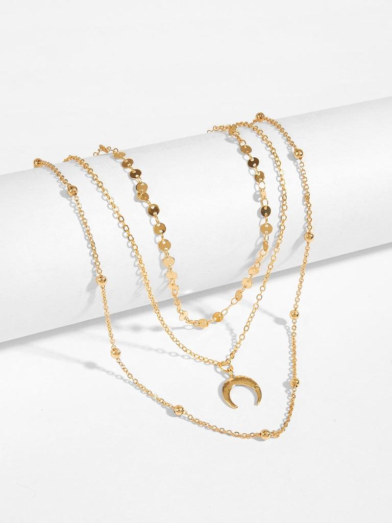 225053de11 SHEIN Disc & Moon Layered Chain Necklace-buy at a low prices on Joom ...