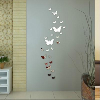 12Pcs/Set Modern 3D Mirror Acrylic Butterfly Home Decoration DIY Art Wall Stickers