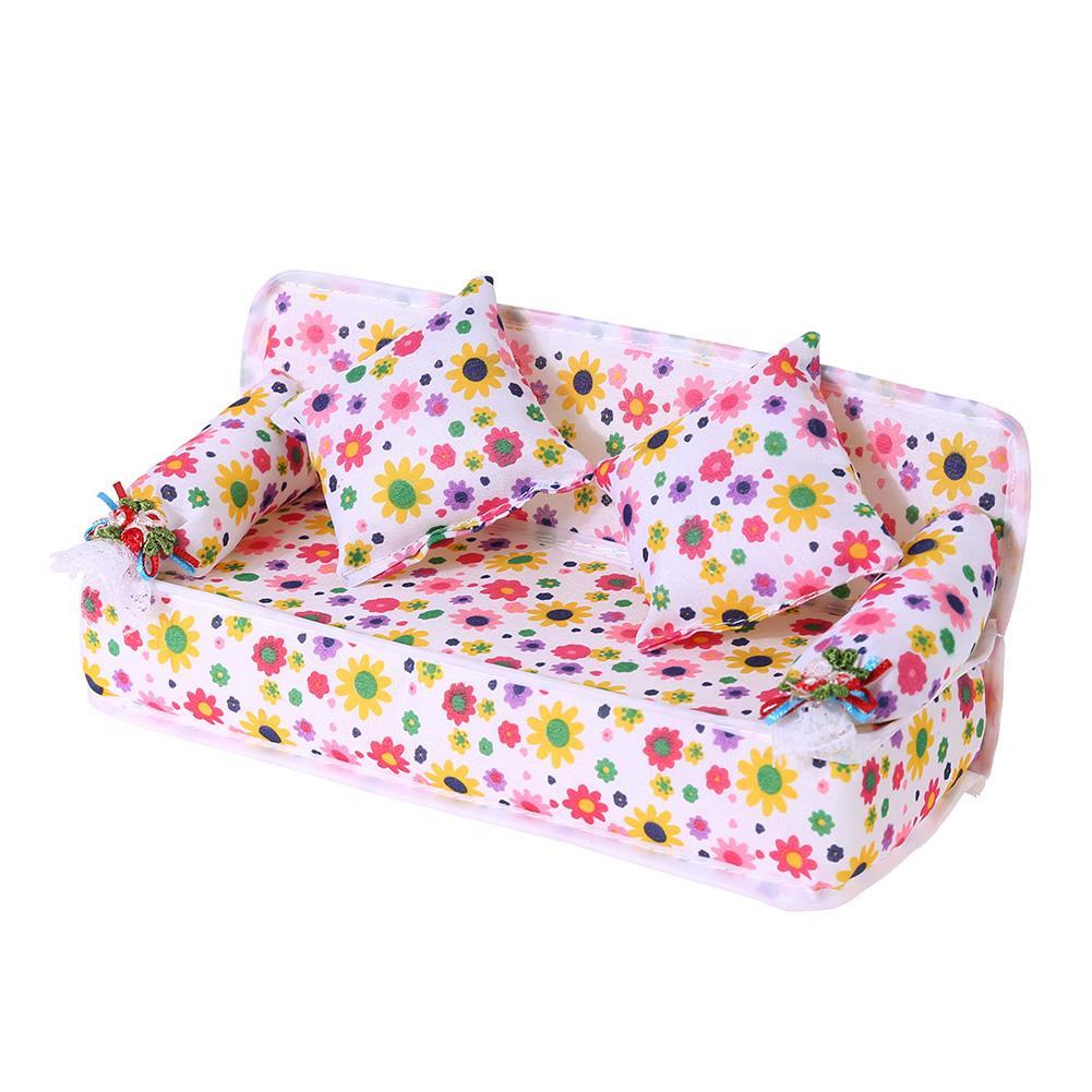 3Pcs//set Mini Dollhouse Furniture Flower Printing Cloth Sofa Couch/&2 Cushion  OD