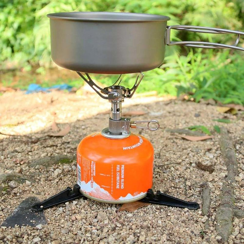 Camping Gas Tank Dual-purpose Fold Bracket Stainless Steel Tripod Canister Stand