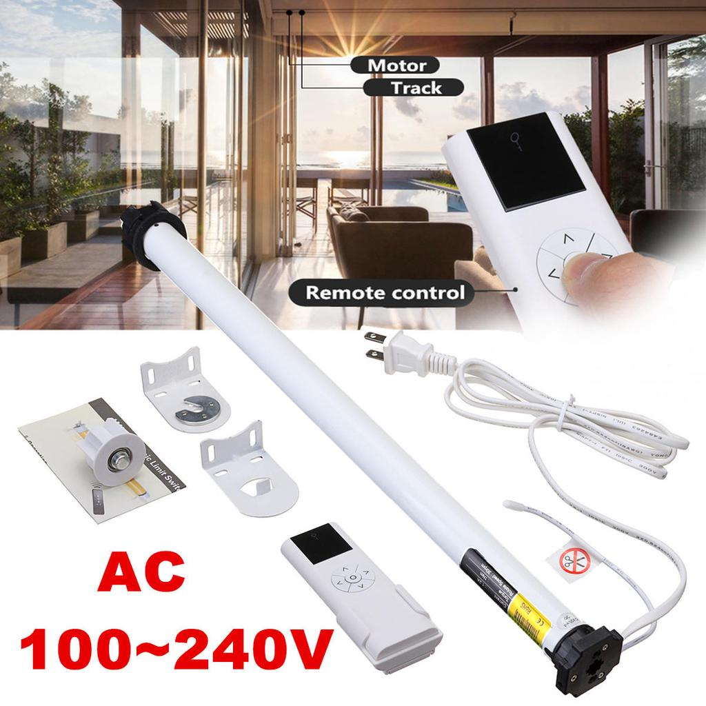 Tubular Electric Curtains Motor DC 24V Roller Blind Shade Motor with Remote Transmitter Control Brackets for Home Use (White)