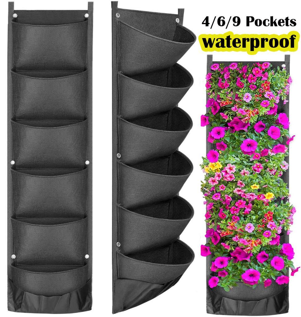4 POCKET WALL HANGING PLANTING BAG VERTICAL FLOWER GROW POUCH PLANTER GARDEN
