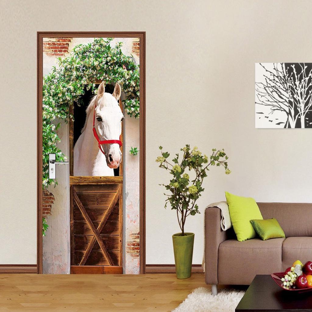 3D Wall Art Beach Flowers Horse Door Sticker PVC Decal Self-adhesive Wrap Mural