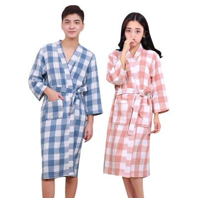 a7bbda3e76 Cotton Plaid Adult Bathrob Long Sleeve Sleepwear Breathable Nightgown