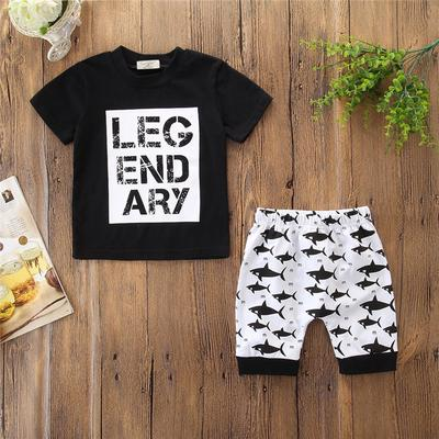 Summer Kids Baby Boys Cotton Shark T-shirt Tops+Shorts Pants 2pcs Outfits Set