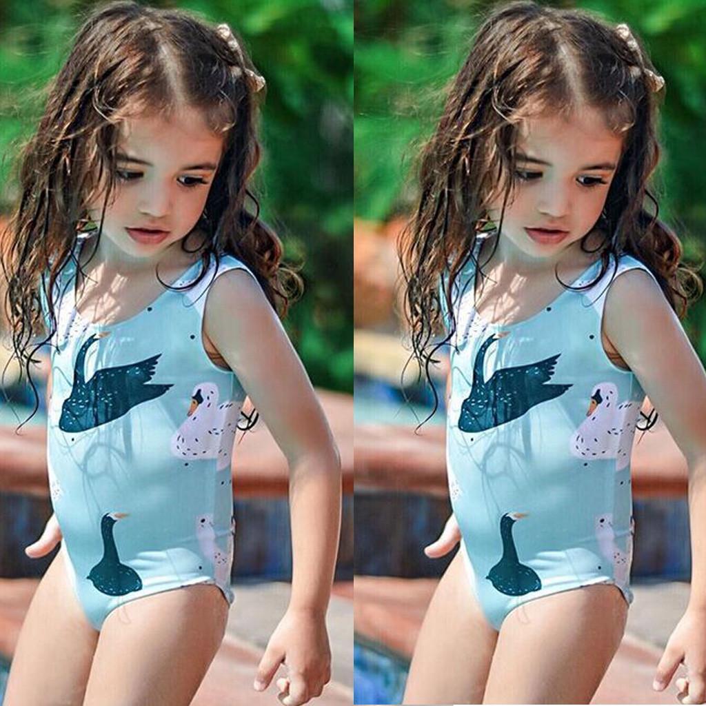 Cute Toddler Girls One-Piece Tankini Swimsuit Girls Flamingo Print Stripes Bathing Suit Sleeveless Swimwear Sunsuits