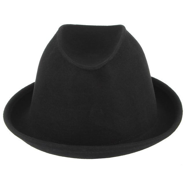 5d2af38391f57 Moda sólido lã homens Fedora preto macho Trilby Top chapéus Jazz Igreja  Caps para chapéu de inverno Vintage