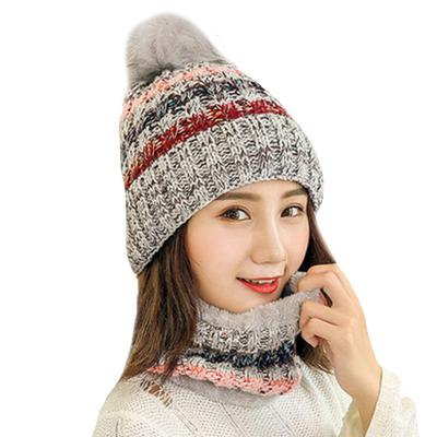 00577da5617 Winter Women Hat Scarf Set For Girls Warm Velvet Ring Scarf Casual Knitted  Caps