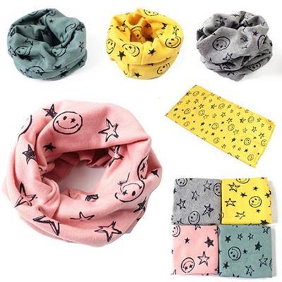 Boy Girls Pentagram Printed Warm Cotton Neck Scarf Shawl Kids O-Ring Neckerchief