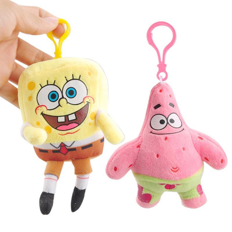 spongebob pink Patrick Star stuffed plush doll key chain ornament keyring new